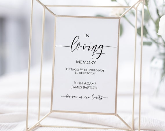 In Loving Memory Wedding Reception Sign, Editable Wedding Sign  Instant Download 100% Editable, PPW0550 Grace