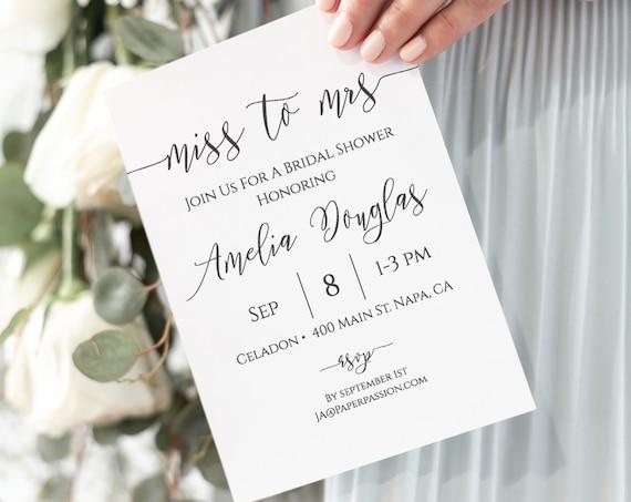 Miss to Mrs Invitation, Bridal Shower Printable, Heart Elegant Bridal Template 100% Editable, Templett PPW0550