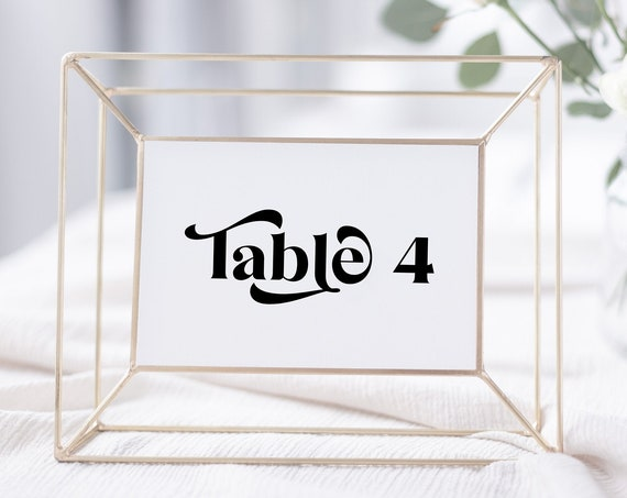 Wedding Table Number Card Template, Wedding Seating Arrangement, Event Seating Modern Retro Seating Numbers, Personalize Editable PPW74