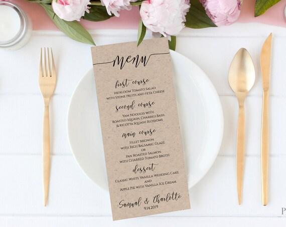 Modern Script Wedding Menu Template, Elegant Font Menu Card, 100% Editable PPW0550 GRACE