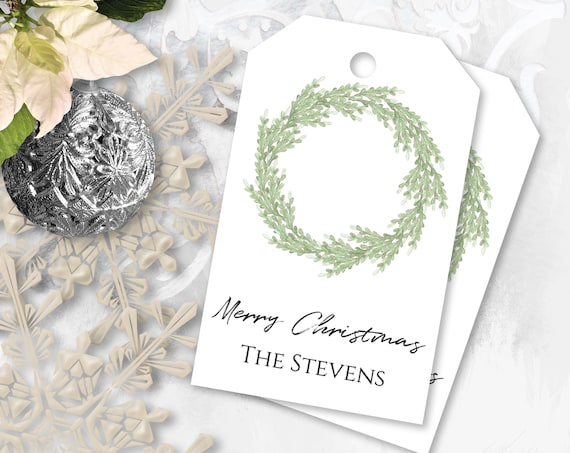 Personalized Christmas Wreath Gift Tag, Printable Holiday Label, Gift Tag Template Label, Corjl PPC-19