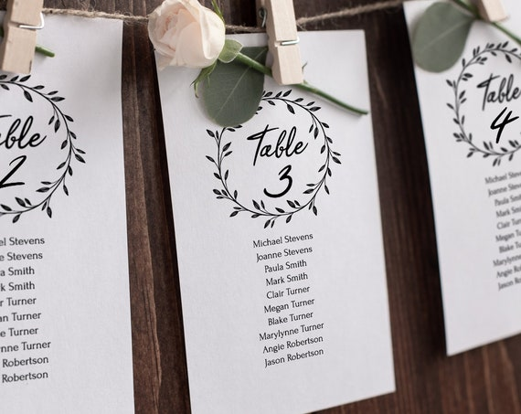 Rustic Seating Table Cards Template, Printable Seating Chart, 100% Editable Text, Wedding Instant Download, Templett, DIY PPW0330