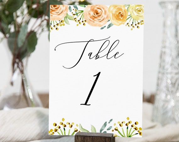 Event Table Number Card Template, Orange Blush Table Numbers,  Wedding Reception Seating, Event Seating 100% Editable Templett  PPW0225