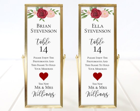 Photo Booth Place Card Frame Insert Template, Red & Pink Floral Watercolor Design, Wedding Favor 100% Editable, Templett PPB0230