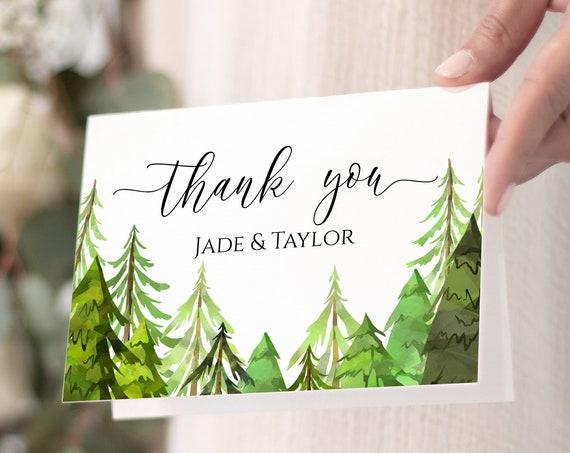 Pine Tree Thank You Card, Wedding Thank You, Printable Editable Template, Corjl LINDEN PPW410
