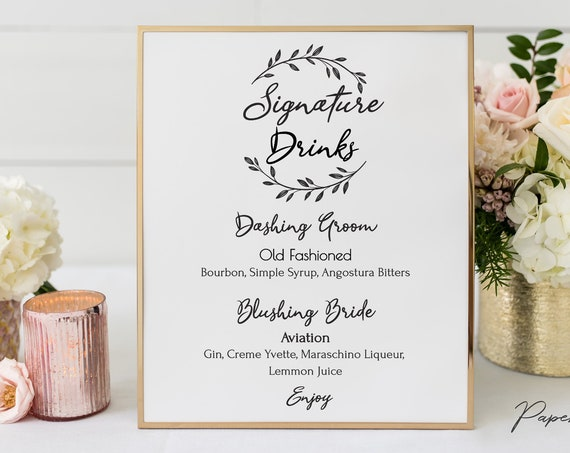 Rustic Signature Drink Menu Sign Template, Bar Menu Printable, 100% Editable Text, Wedding Instant Download, Templett, DIY PPW0330