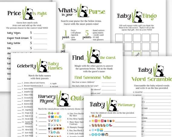 Panda Theme Game Package ~ Bundle of 8 Games ~ Panda Bear Baby Shower GameS ~ Gender Neutral Baby Shower  ~ Printable Game  0034