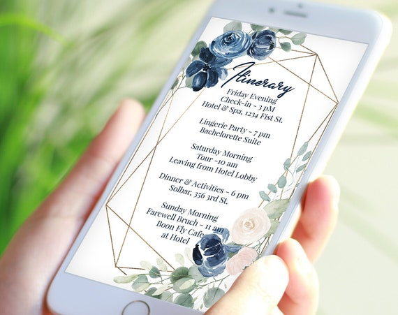 Blue Itinerary, Pink Wedding, Bachelorette, Out of Town Guest, Family Reunion, Electronic, Floral, Mobile Phone Format, Editable AVRIL-C3