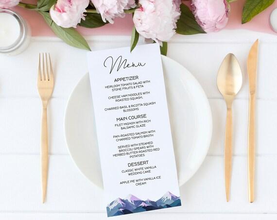 Wedding Menu Card Template, Table Decor, Printable Editable Menu, Winter Mountain Range, Printable Template, Corjl ANDES PPW420