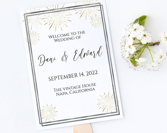 Silver and Gold Frame Wedding Fan Program , Wedding Order of Events, Ceremony Program Wedding Party Editable  PPW-NY21