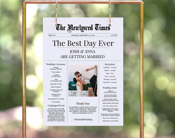 Newspaper Design Wedding Welcome Sign, Unplugged Wedding Signage, Editable Ceremony and Reception Timeline Template PPW2