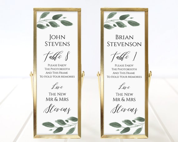 Photo Booth Place Card Frame Insert Template, Greenery Watercolor Design, Wedding Favor 100% Editable, Templett  PPW0450