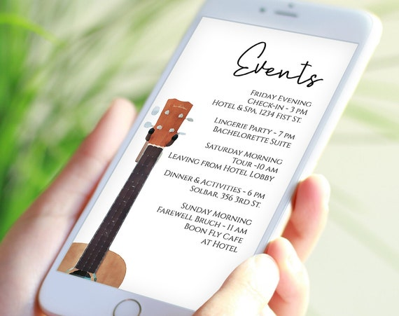 Guitar Electronic Itinerary Template, Bachelorette, Music Event, Recital, Wedding Events, Reunions, Text Message, Email, Editable GUITAR