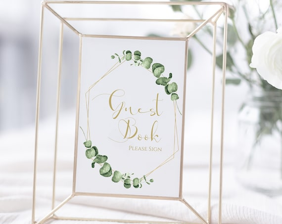 Greenery Wedding Guest Book Sign Template, Gold Geometric Reception Please Sign Printable, 100% Editable, Templett PPW0445