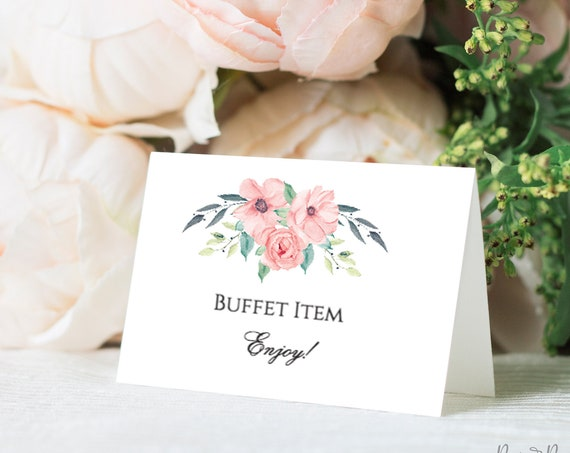 Boho Floral Wedding Buffet Card, Food Label, Tented Cards, 100% Editable Text, Food Station, Templett, DIY PPW0220