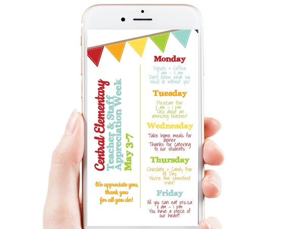 Virtual Teacher Appreciation Itinerary, Daily Events, Electronic Itinerary, Email or Text Schedule, Personalized Editable Template TAW110
