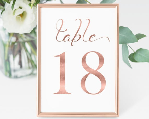 Table Numbers, Rose Gold Wedding Table Numbers Printable, Classic Wedding, Table Number Cards, Instant Download PDF, 110RG