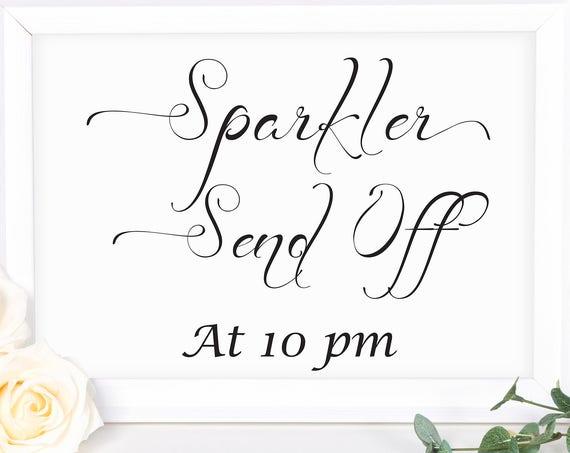 Wedding Send Off Sign ~ Sparklers Sign ~ Wedding Sign ~ Reception Sign ~ Landscape Sign ~ Editable Template ~ Instant Download PDF ~ 110B