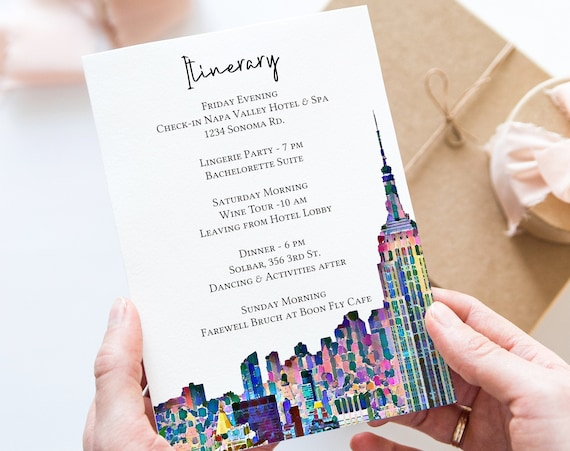 New York City Skyline Itinerary , NYC Art Design Template, Wedding Agenda, Hen Party, Bridal Shower, Details, Itinerary PPW42 PARK