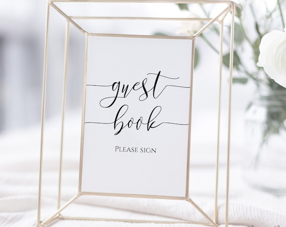 Guest Book Sign, Editable Wedding Sign, Bridal Shower Please Sign Template,   Instant Download 100% Editable, Templett PPW0550 Grace