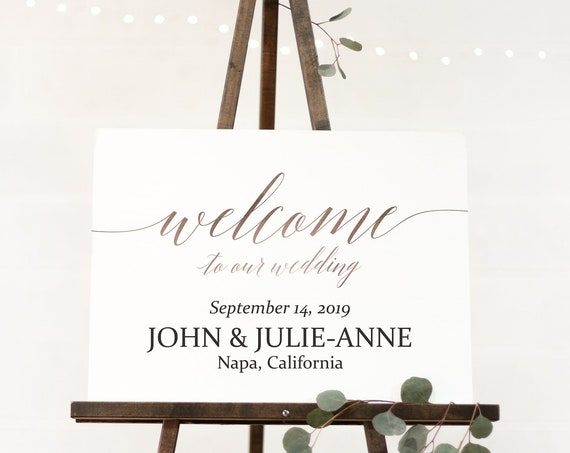 Welcome Sign ~ Rose Gold Welcome to our Wedding Sign ~ Reception Sign ~  Landscape Sign ~ Editable Template ~ Instant Download PDF ~ 120RG