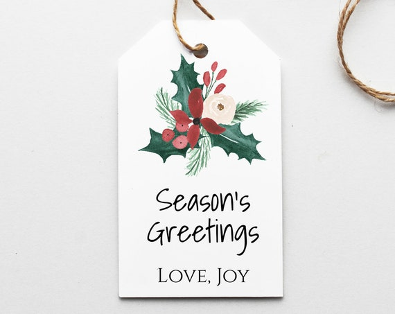Personalized Christmas Floral Gift Tag, Printable Holiday Label, Gift Tag Template Label, Corjl PPC-19