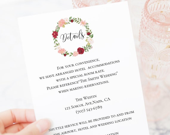 Enclosure Details Card Template, Floral Design, Gold Pink Red Flower, Editable Card, Instant Download 100% Editable, Templett PPW0230