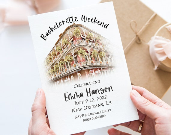 Watercolor Bachelorette Party Weekend Invitation Template, Details, Invite Card, New Orleans Bach Party, Itinerary, Printable PPW30 CRESCENT