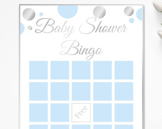 Bingo Game ~ Blue and Silver Baby Shower Game ~ Baby Shower Baby Boy Polka Dot ~ Printable Game 21SilverB