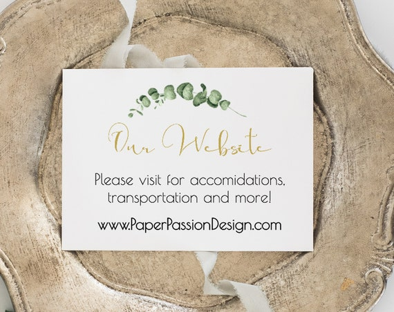 Gold Greenery Wedding Our Website Enclosure Card, Invitation Enclosure Card, 100% Editable, Templett PPW0445
