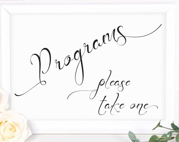 Wedding Program Sign ~ Wedding Sign ~ Ceremony Sign ~ Landscape Sign ~ Bridal Template ~ Instant Download PDF ~ 110B