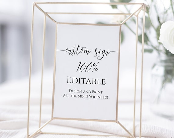 Custom Sign, Editable Wedding Sign, Bridal Shower Template, Personalized Sign Instant Download 100% Editable, Templett PPW0550