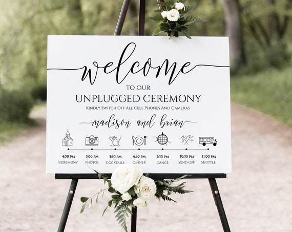 Unplugged Ceremony and Timeline Sign, Printable Timeline, Wedding Day Schedule, No Phones or Cameras 100% Editable, Templett PPW0550