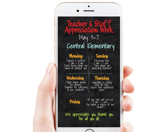 Teacher Appreciation Week Itinerary, Daily Schedule Events, Virtual Electronic, Email or Text Format, Personalized Editable Template TAW140