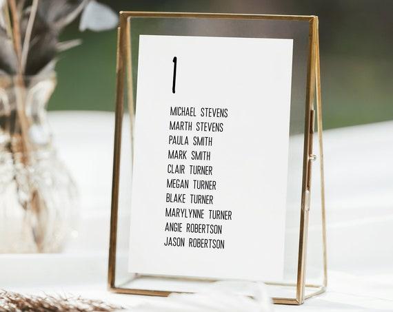 Simplistic Wedding Seating Table Card, Seating Chart, Modern Table Seating Plan 100% Editable Corjl PPW508