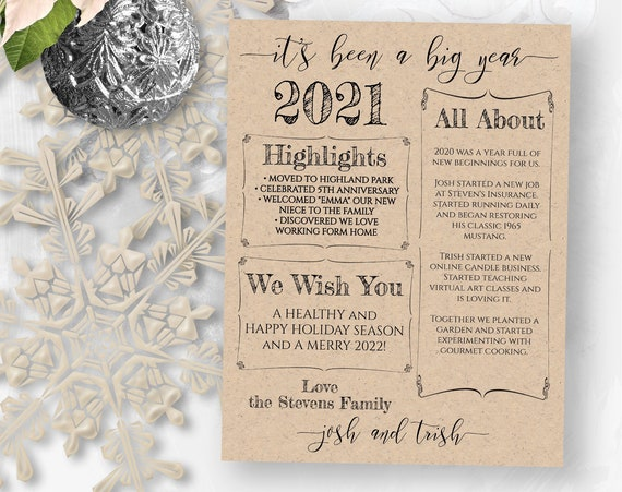 Christmas Letter Template, Christmas Card Year in Review, Christmas Newsletter, Family Update , 100% Editable,  PPC-19