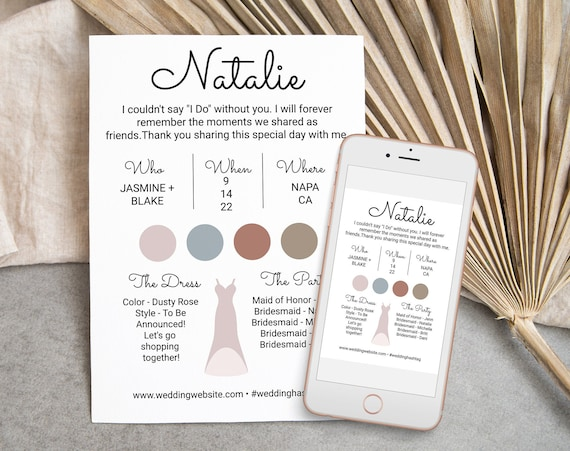 Bridesmaids Information Card, Printable Bridesmaid Details, Letter to Bridesmaid, Modern Maid of Honor Proposal Box Editable AVA PPW301