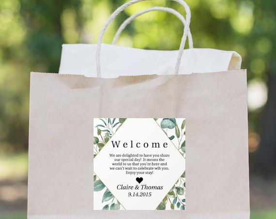 Wedding Welcome Bag Sticker Label, Wedding, Gold Geometric Greenery Tag, Printable 100% Editable, Templett PPW0440 PPB0440