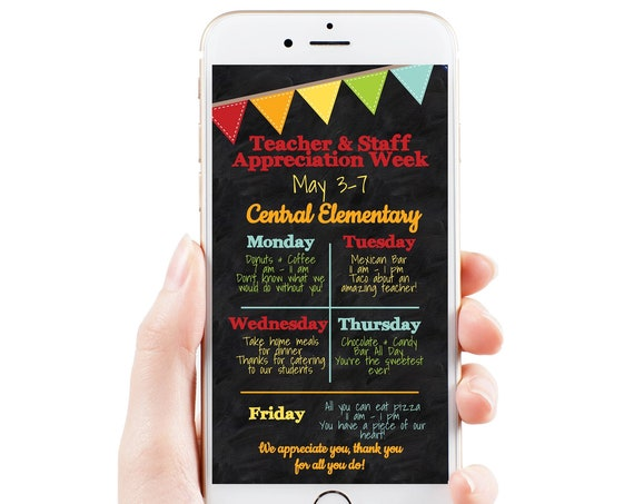 Teacher Appreciation Week Itinerary, Daily Schedule Events, Virtual Electronic, Email or Text Format, Personalized Editable Template TAW100