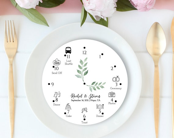 Wedding Day Icon Timeline, Schedule, Itinerary, Order of Events, 100% Editable, Templett PPW0480