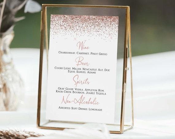 Bar Drink Menu, Wedding, Bridal Shower, Table Top Sign, Rose Gold Glitter, Bar Menu Corjl PPW90 PPW92