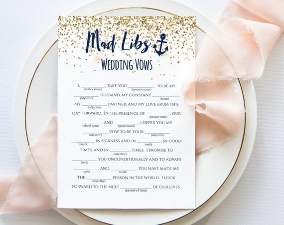 Mad Libs Bachelorette Game Template, Wedding Vows Mad Libs Game, Nautical, Let's Get Nauti, Bridal Shower Activity MARIN PPW28