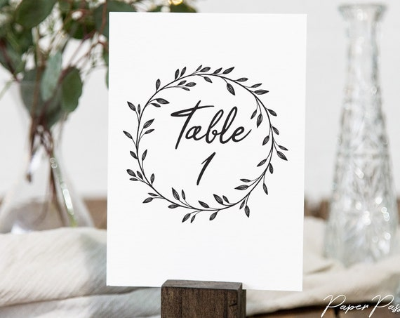 Rustic Table Numbers Template, Bridal Table Number Printable, 100% Editable Text, Wedding Instant Download, Templett, DIY PPW0330