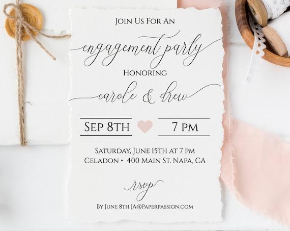 Wedding Engagement Party Invitation, Simplistic Rustic Elegant Bridal Template 100% Editable, Templett  PPW0560