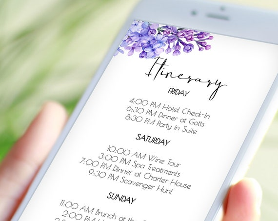 Lilac Itinerary, Bachelorette, Wedding, Family Reunion, Electronic Schedule, Email Itinerary, Editable Text, 100% Editable PPW2021LPB SHAE