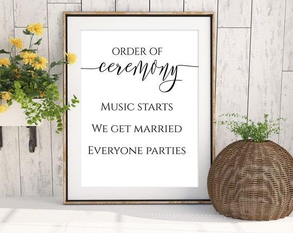 Order of Ceremony Sign, Wedding Display Sign, Wedding Timeline, Oder of Events 100% Editable PPW0550 Grace