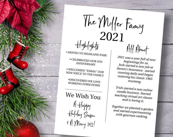 Christmas Letter Template, Year in Review, Christmas Newsletter, Family Update  Instant Download 100% Editable, PPC-19
