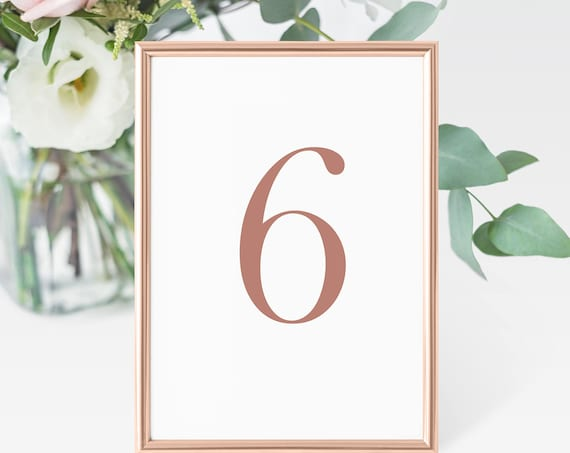 Rose Gold Table Numbers, Modern Wedding Table Numbers Printable, Classic Wedding, Table Number Cards, Instant Download PDF