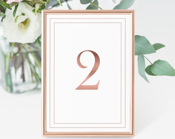 Rose Gold Foil Table Numbers, Modern Wedding Table Numbers Printable, Classic Border Cards, Table Number Cards, Instant Download PDF
