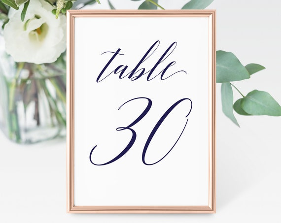 Navy Table Numbers, Wedding Table Numbers Printable, Classic Wedding, Table Number Cards, Instant Download PDF, 120N